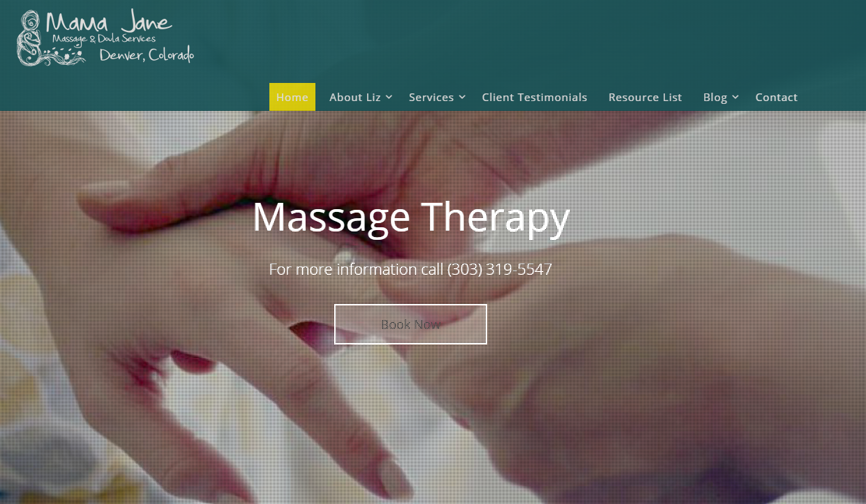 Website Design - Mama Jane Massage and Doula Services